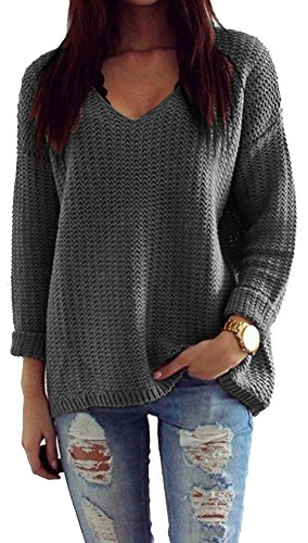 Mikos*Damen Pullover Winter Casual Long Sleeve Loose Strick Pullover Sweater Top Outwear (627) (Graphite)