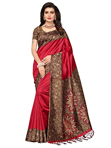 Mrinalika Fashion Women's Art Silk Saree With Blouse Piece (Srja006!_Red)