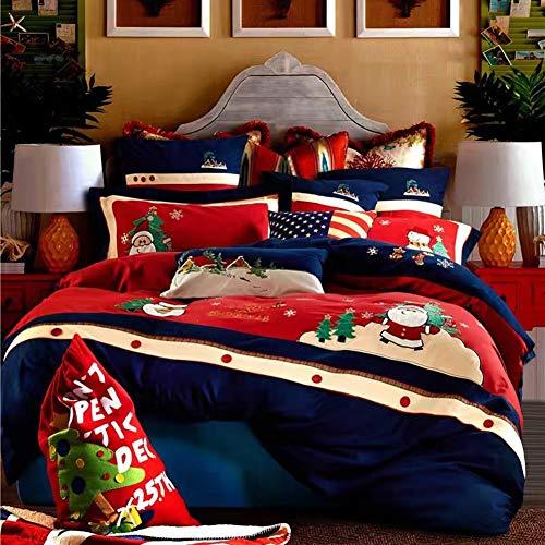 Set copripiumino natalizio (senza piumone), simpatico pupazzo di neve con cappello da babbo natale in giardino con fiocchi di neve albero di natale, set biancheria da letto 4 pezzi, blu rosso bianco,1.2m