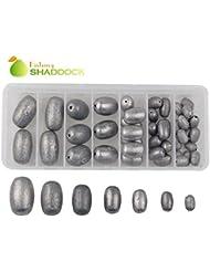 Shaddock Pêche ® 42pcs Assorties Taille Oeuf Pêche Sinker Poids WORM/Bell/basse Moulage Poids plombs kit pour NGT Fishing- Total 601gram dans une boîte pratique