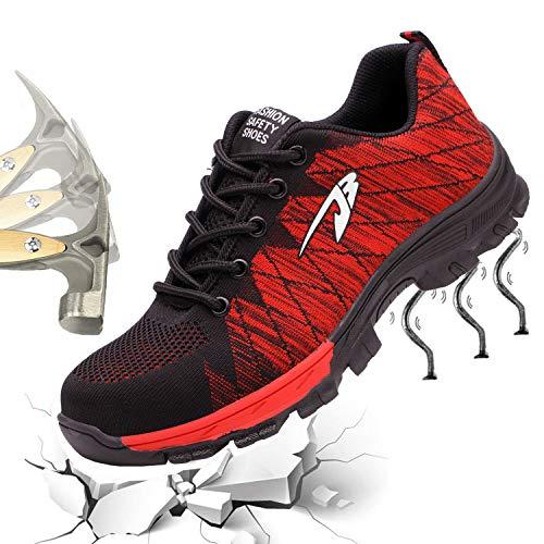 Gainow Damen Herren Arbeitsschuhe Stahlkappe Sicherheitsschuhe Sportlich 200J Leicht Stahlkappe Atmungsaktiv Schutzschuhe Trekking Wanderhalbschuhe Hiking Schuhe Traillaufschuhe (43 EU, Rot ()
