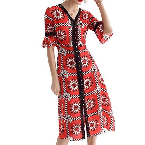 Europäische Und Amerikanische Mode Frauen EIS Weich V-Ausschnitt Ärmel Kleid Rock Seide 100% Seide Kleid S-XL (Farbe : Rot, größe : M)