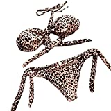 TWIFER Dot Printed Bikini Set Push-Up Bow Bademode Badeanzug Beachwear Dreiecks Bikinis (M / 36-38, Braun)