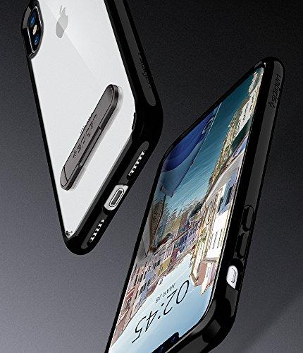 iPhone X Hülle, Spigen® [Ultra Hybrid S] Integrierter Kickstand [Crystal Clear] Durchsichtige PC Rückschale mit Silikon TPU-Bumper Transparent Schutzhülle mit Kickstand für iPhone X Case Cover - Cryst UHS Diamantschwarz