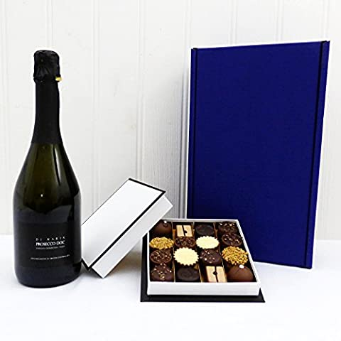 Prosecco & Belgian Chocolates Gift Box - 750ml Di Maria Prosecco & 16 Delicious Luxury Belgian Chocolates in Gift Box by Fine Food Store - Perfect Christmas present or Birthday