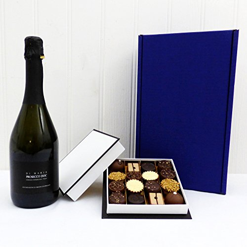 Prosecco & Belgian Chocolates Gift Box - 750ml Di Maria Prosecco & 16 Delicious Luxury Belgian Chocolates in Gift Box by Fine Food Store - Perfect Mother's Day present