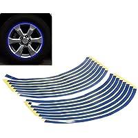 Adesivo per cerchi, riflettente cerchioni Moto Moto/Autoadesivo Adesivo fino a 18 pollici - blu