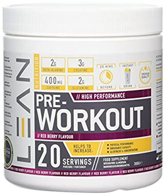 LEAN Nutrition Pre Workout Powder With Creatine - Pre Workout Drink Powder For Energy Endurance - 300g Red Berry by LEAN Nutrition