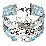 JewelryWe Bijoux Bracelet Artisanal Rétro Oiseau d'Amour Arbre Multi-Rangs Réglable Cuir Alliage Fantaisie pour Homme et Femme Couleur Bleu Blanc...
