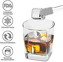 Ice Cubes acier inoxydable réutilisable à Whisky Vodka bière vin blanc lot de 8 approuvée par la FDA avec pince en silicone