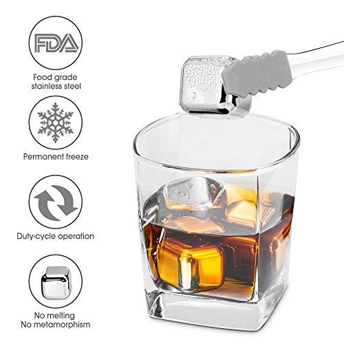Edelstahl Eiswürfel wiederverwendbare Rostfrei Steine Für Whiskey, Wodka, Baileys, Bier, Weißwein Und Mehr FDA Genehmigte Mit 8 Stück Würfel Und Pinzette