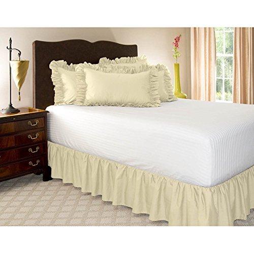 Wrap-around bed, Einfach fit elastische staub rüsche rock Falten und lichtbeständige volltonfarbe hotel qualität stoff 15 zoll Fallen Queen-king Vollständige Stifte Twin-Beige 100x200cm(39x79inch)
