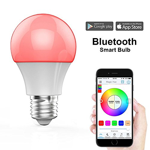 MagicHue Neu Smart LED Bluetooth 4.5W(350Lumens) Lampe, 16 Mio Farben und DIY Leuchtmittel dimmbar Bulbs, Timer, Musik & Mic Beleuchtung E27 für Android und IOS