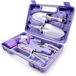 Outils de Jardinage 5 PCS WOLFWILL Avec Transplantoirs Ciseaux Herse Anti-rouille Pulvérisateur Et Boîte (Violet)
