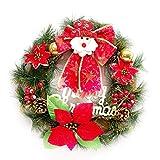 mollylover Weihnachten Kleine Rote Kranz Künstliche Weihnachtsmann Exquisite Rattan Garland mit Kiefernadel Rote Frucht Tür Hängen für Home Hotel Mall Fenster Tür Dekoration 30 cm