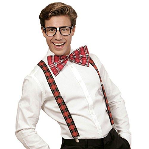 Amakando Streber Verkleidung Nerd Kostüm Set kariert Geek Herrenkostüm Hosenträger Fliege Brille Schottenkaro Streberkostüm Nerdkostüm Bad Taste ()