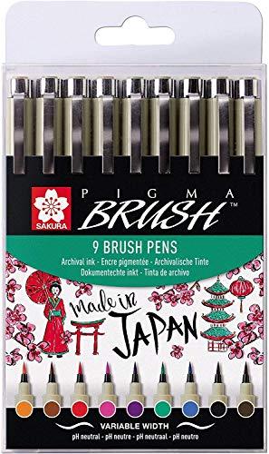 Sakura Pigma Brush 9 brush pens