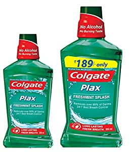 Colgate Plax Mouthwash - 250 ml (Fresh Mint) with Plax Mouthwash - 500 ml (Fresh Mint)