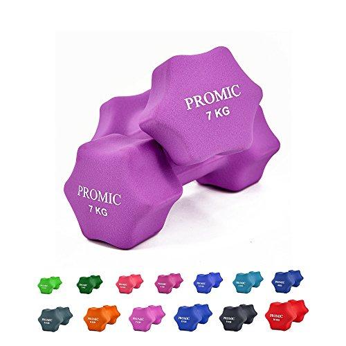 PROMIC 2er Set Neopren Hanteln Kurzhanteln Gymnastikhanteln, 13 verschiedene Gewichte und Farben zur Auswahl, 2 x 7 kg, Licht lila