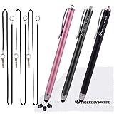 The Friendly Swede Eingabestift Touchstift Stylus Stift (3er-Set) für Tablett und Handy, mit dünnerer Spitze, Ersatzspitzen, Anhängern und Reinigungstuch