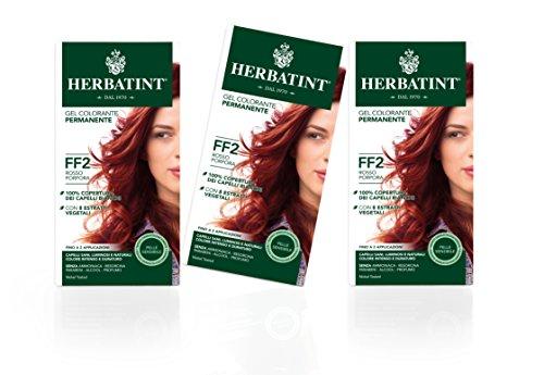 Herbatint Gel Colorante Permanente Pelle Sensibile (Tonalità Ff2 Rosso Porpora) - 3x150 ml. (Totale 450 ml.)