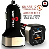 TOKYOTRON (JAPAN) 3.1 A 24W Dual Port USB Car Charger, For IPhone 7 / 6s / Plus, IPad Pro / Air 2 / Mini, Galaxy S7 / S6 / Edge / Plus, Note 5 / 4, LG, Nexus, HTC And More …