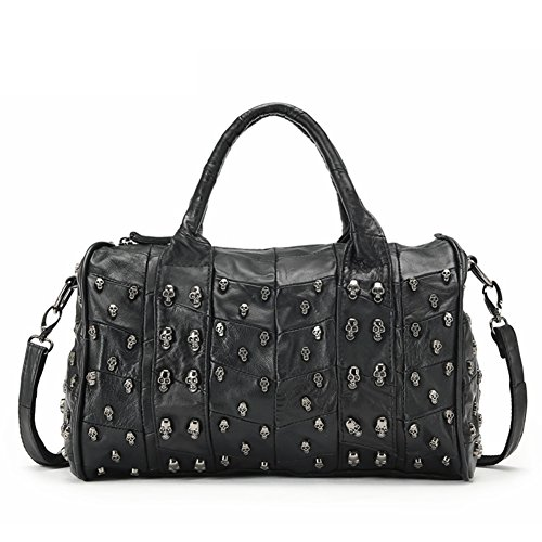 Borse in pelle donna teschio rivetto/Europei e americani moda balenciaga motorcycle bag-A