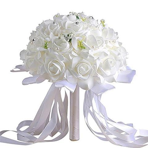 Zycshang 1Bouquet artificiel Poignée de Blanc moderne Cristal roses, faux Floral Decarated par Perle et ruban, installation pour fête de mariage Décoration de bureau