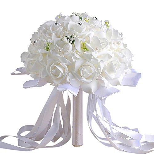 Zycshang 1bouquet bianco artificiale moderno in cristallo rosa, floreali Decarated di perle finte e nastro, raccordo per festa di nozze ufficio decorazione