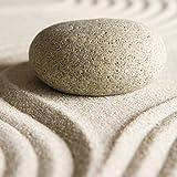 Artland Qualitätsbilder I Glasbilder Deko Glas Bilder 20 x 20 cm Wellness Zen Stein Foto Creme D8TH Zen Stein