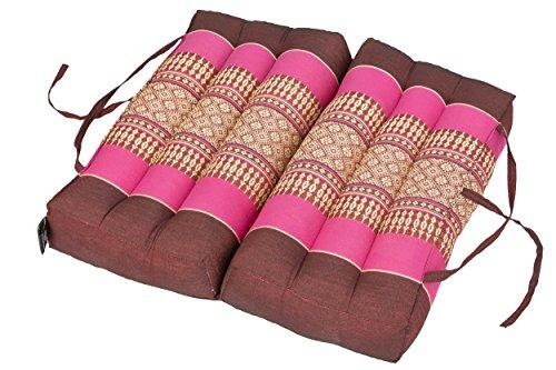 Coussin pliant 40x40 pour se relâcher, méditation ou yoga, bordeaux-rose