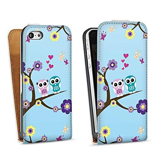 Apple iPhone 5s Housse Étui Protection Coque Hibou Hibou Fleurs Sac Downflip blanc