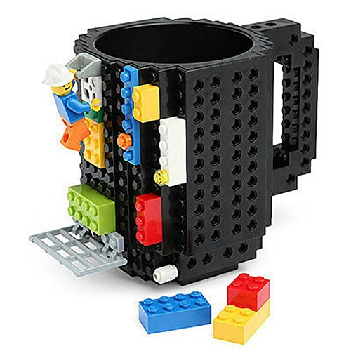 Quemu Build-On Brick Mug Coffee Cup DIY Creative Building Blocks Coffee Tea Beverage Drinking Funny Gift