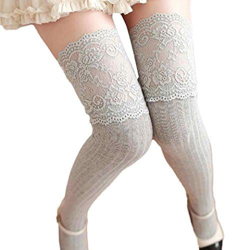 Longra Calze alte in tubo di pizzo, Cotone materiale superiore solido colore donne inverno ragazza sopra il ginocchio gamba scaldino morbido cotone calze di pizzo Leggin (Free Size, Grigio)