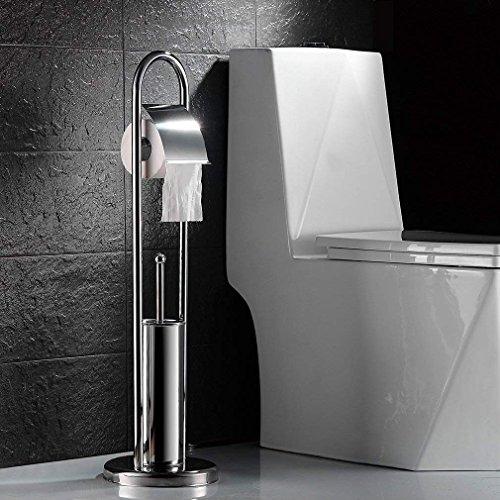 2 en 1 Conjunto de Baño Portarrollos para Papel Higiénico, Escobillas y Portaescobillas de Inodoro, Cepillo de Baño para WC Acero Inoxidable