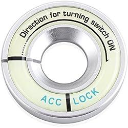 LITTOU Luminous Lgnition Key Ring Switch Cover Sticker For GOLF 4 GOLF 6 GOLF 7 MK7 MK6 MK5 POLO Passat B5 B6 B7 (Silver)