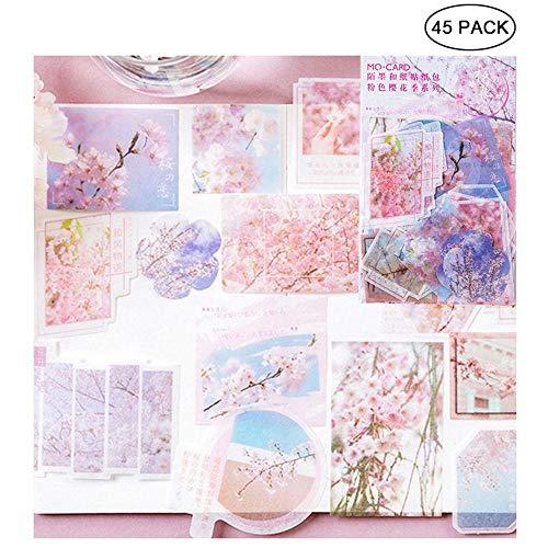 Hamkaw Kawaii Sakura Ephemera-Packung (45 Stück), romantischer japanischer Stil, Notizaufkleber, rosa Kirschblüte im April für Scrapbook, Notebook, Tagebuch, Kartenherstellung, Briefe Picture Festival -