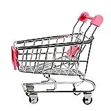 Mini carros de mano de supermercado - SODIAL(R)Mini Carro de compras Carros de mano de supermercado Modo de carros de utilidad de compras Juguete de almacenamiento (Rosado)
