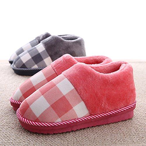 YMFIE Gli uomini e le donne inverno caldo pavimento coppie antislittamento cotone felpato pantofole scarpe E