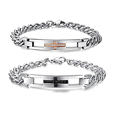 Paare Edelstahl Link Kette Kreuz Armband-Set mit Kristall passenden Set