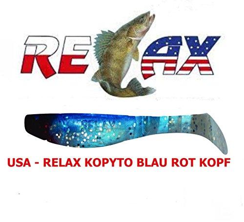 USA-RELAX KOPYTO Blau Rot Kopf 3 Stück 7,5 cm (305 ) Hecht Zander Raubfisch