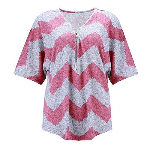 BHYDRY Frauen Reißverschluss Kurzarm Lässige Weste Top Bluse Damen Sommer Lose T-Shirts Zu