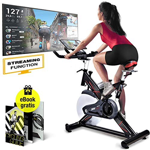 Sportstech Profi Indoor Cycle SX400 -Deutsche Qualitätsmarke-mit Live Videos & Multiplayer APP, 22KG Schwungrad, Pulsgurt kompatibel-Speedbike mit leisem Riemenantrieb-Ergometer bis 150Kg inkl. eBook