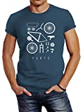 Neverless Fahrrad Teile Herren T-Shirt Bicycle Parts Denim Blue M
