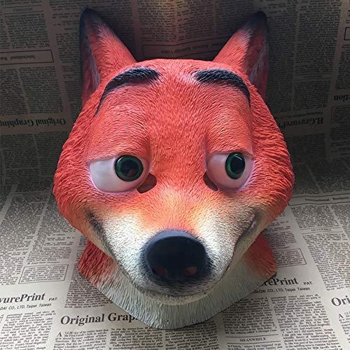 y Halloween Tier Maske Fuchs Katze Faule Judy Cartoon Latex Kopfbedeckung,B ()