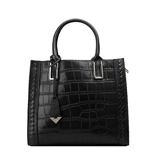 Damen Krokodil Drucken Top-Griff-Handtaschen-Schulter-Umhängetasche Multicolor Black