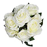 Rosenstrauß von Veryhome mit neun künstlichen Rosen, sehr realistisch als Brautstrauß oder für die Heimdekoration weiß