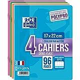 Oxford OpenFlex Lot de 4 Cahiers seyès polypro 96 pages 17 x 22 cm