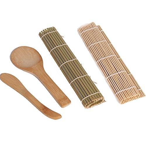 Aofocy Kit de Fabrication de sushis en Bambou pour débutant Inclus 2 Tapis roulants - 1 Palette de Riz - 1 épandeur de Riz, Tapis de Sushi Bambou et ustensiles 100% naturels