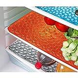 #10: Yellow Weaves™ Refrigerator Drawer Mat / Fridge Mat In Thick Material Set Of 6 Pcs(Multi)